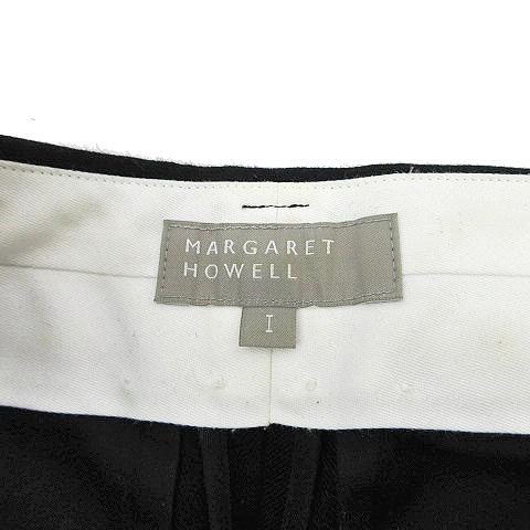 マーガレットハウエル MARGARET HOWELL ワーク パンツ ジップ ツイル スラックス ローライズ ウール 1 W28 黒 ブラック NVW K062017