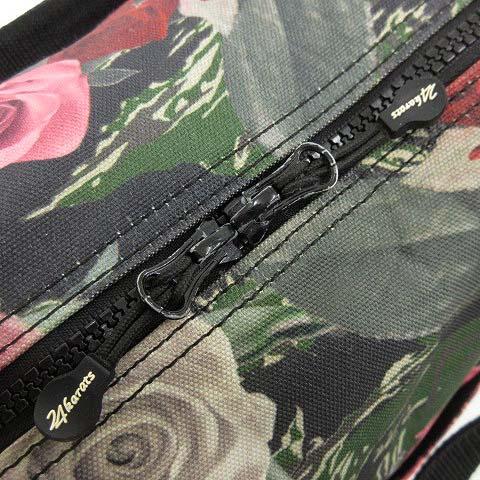 トゥエンティフォーカラッツ 24カラッツ 24karats FLOWER CAMO DRUM BAG ドラムバック 2WAY ショルダー ボストン 迷彩 カモフラ 花柄 ローズ カーキ 緑 グリーン 黒 ブラック SEJ R062928 メンズ