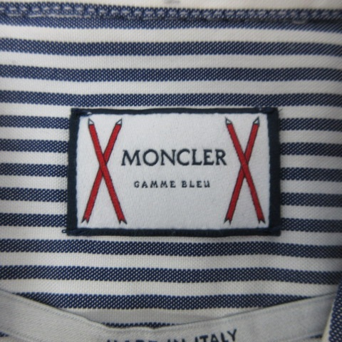 モンクレール MONCLER gamme bleu ガムブルー byトムブラウン 16SS ボタンダウン シャツ 長袖 国内正規 5204720 23951 ストライプ コットン 0 S 青 ブルー C051607 メンズ