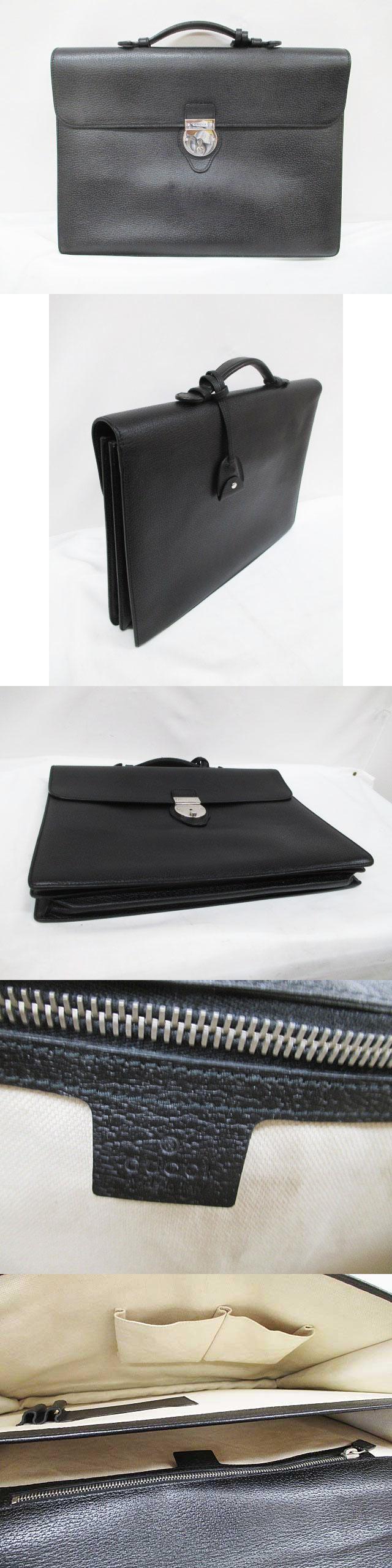 ブリーフケース 美品 黒 レザー ビジネスバッグ 書類かばん 281402 ブラック 預 D6583