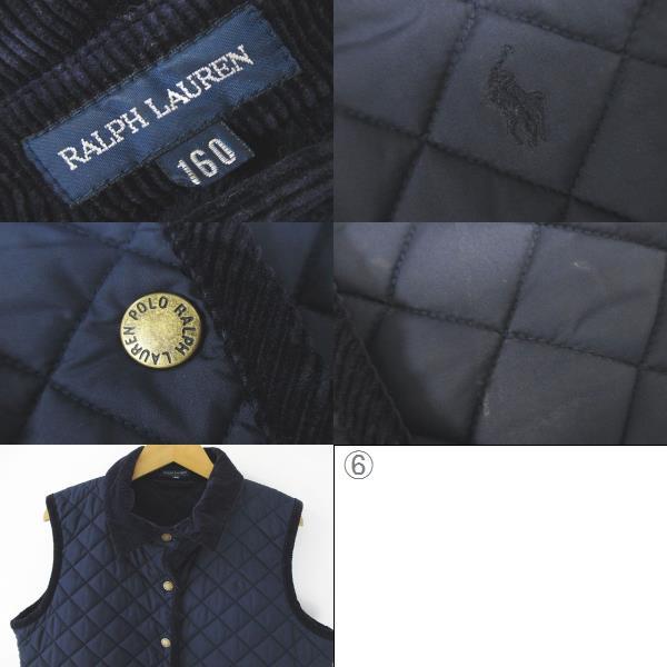 ポロ ラルフローレン POLO RALPH LAUREN 中綿 ジャケット ベスト ノースリーブ キルティング 160 紺系 ネイビー ロゴ 刺繍 フリース 綿 コットン 子供 キッズ