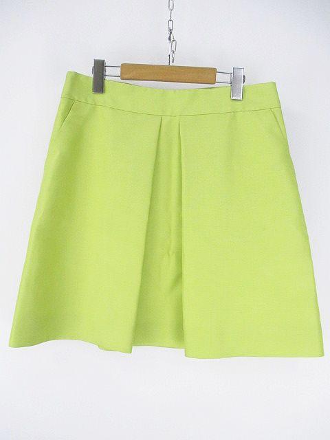 f3558f5a3416 セリーヌ CELINE 膝丈 スカート フレア プリーツ 無地 シルク 絹 38 グリーン 緑系 裏地 バックファスナー フランス製 綿 コットン  レディース