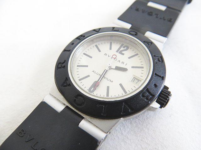 timeless design 0b21c e0575 ブルガリ BVLGARI アルミニウム ALUMINIUM ボーイズ腕時計 デイト クオーツ アイボリー文字盤 AL32A L2290 電池交換済み  レディース