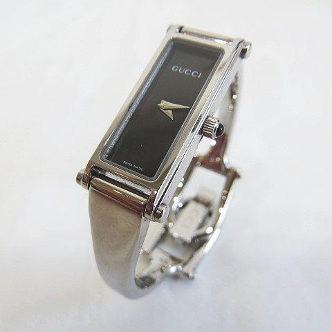 90de870bc6a0 グッチ GUCCI バングルウォッチ 1500L クォーツ 黒文字盤 シルバー SS 腕時計 レディース