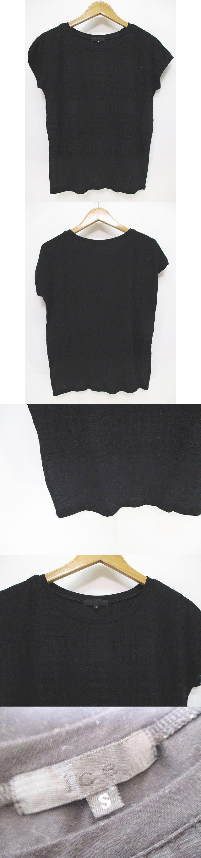 半袖 Tシャツ カットソー 柄 総柄 Vネック S 黒 ブラック