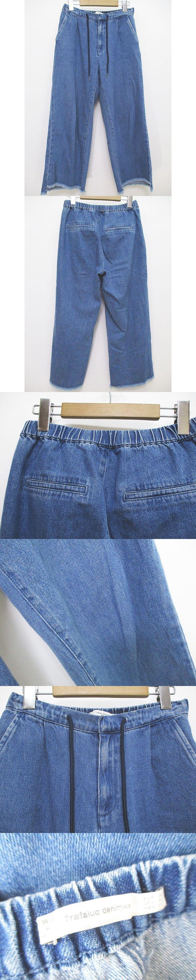 ロング丈 デニム レギンス パンツ 32 青系 ブルー 無地 USED加工 綿 コットン