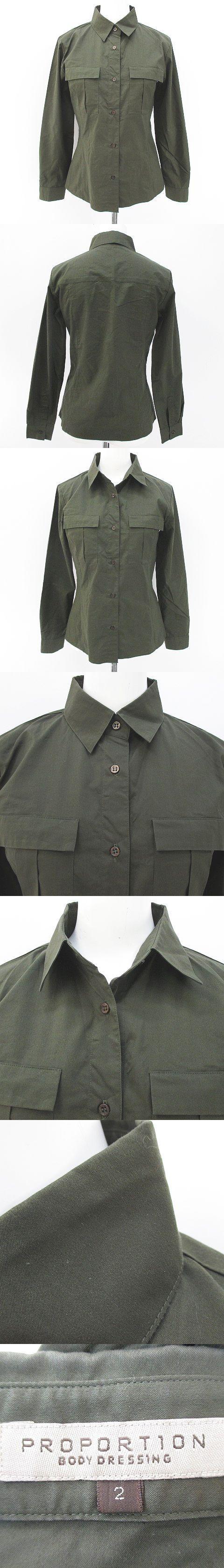 長袖 シャツ ブラウス 2 緑系 グリーン 日本製 胸ポケット ボタン 綿 コットン