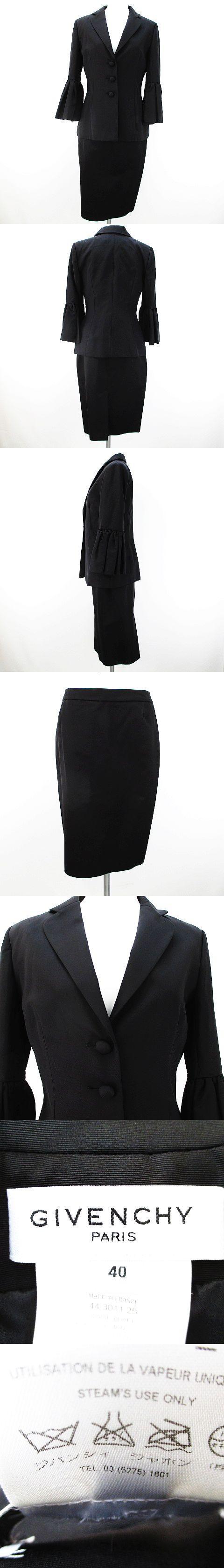 セットアップ スカートスーツ 上下 ジャケット 40 38 膝丈 タイト 袖フレア 裏地 ボタン シルク 絹 綿 コットン