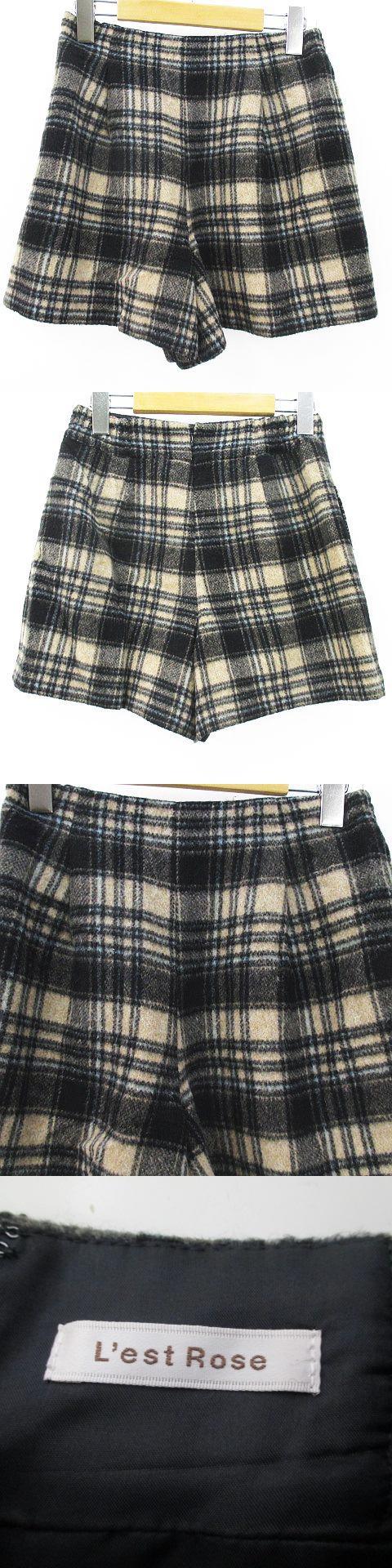 チェック柄 ショートパンツ 2 ベージュ系 裏地 バックファスナー ウール 毛 日本製