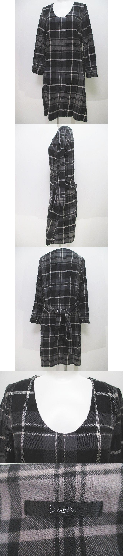 チェック柄 長袖 シャツ ワンピース 膝丈 F 黒系 ブラック リボン 日本製