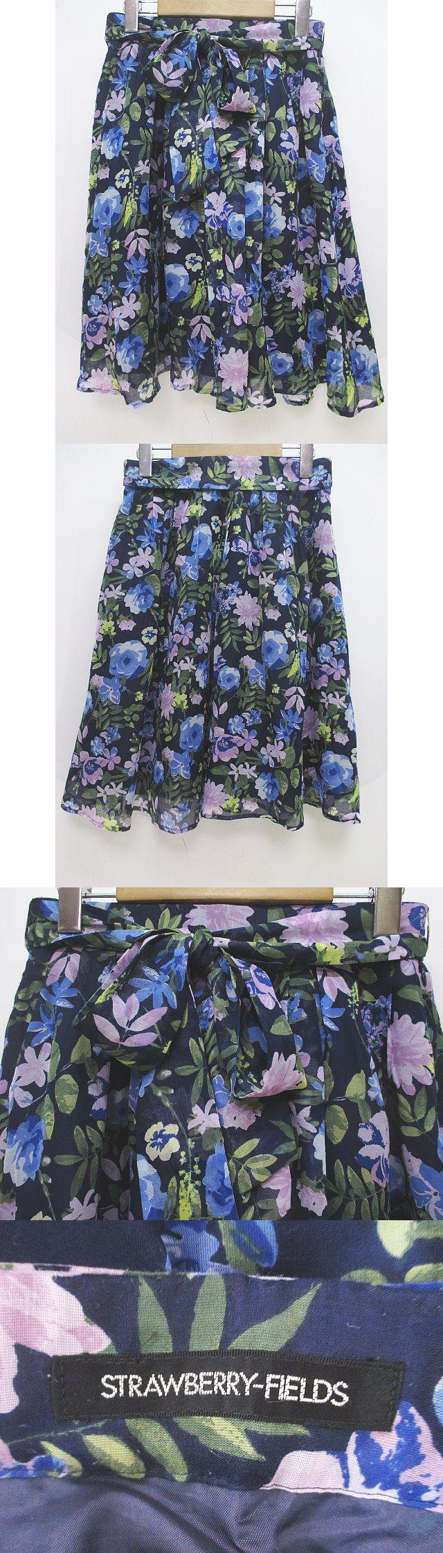 花柄 膝丈 フレアスカート 紺系 ネイビー リボン ギャザー 裏地 日本製