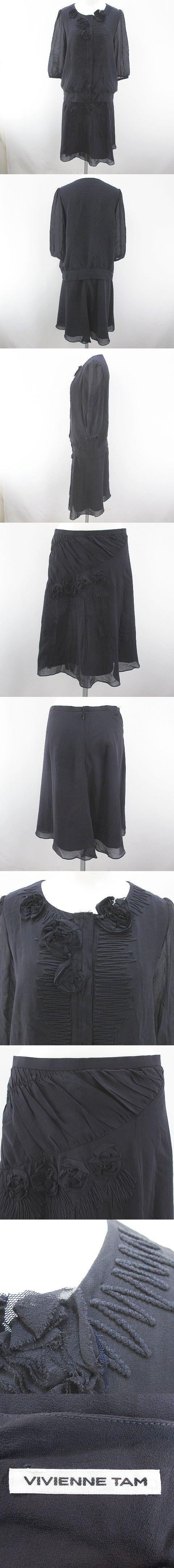 セットアップ 七分袖 シャツ ブラウス 膝丈 フレアスカート 比翼 絹 シルク 1 灰系 グレー 刺繍 シースルー 透け感 裏地