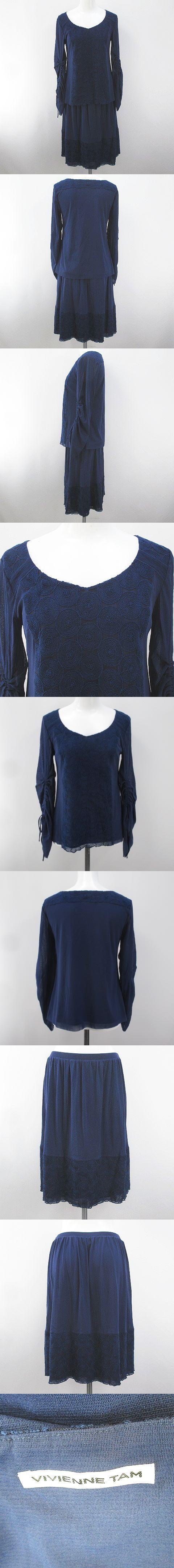 セットアップ 上下 長袖 ブラウス 膝丈 フレアスカート 1 青系 ブルー 刺繍 ステッチ 裏地