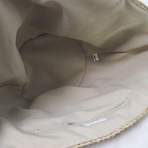 ジュジュ joujou かごバッグ バスケット 毛糸 ステッチ ハート金具 ベージュ ブラック 黒  レディース
