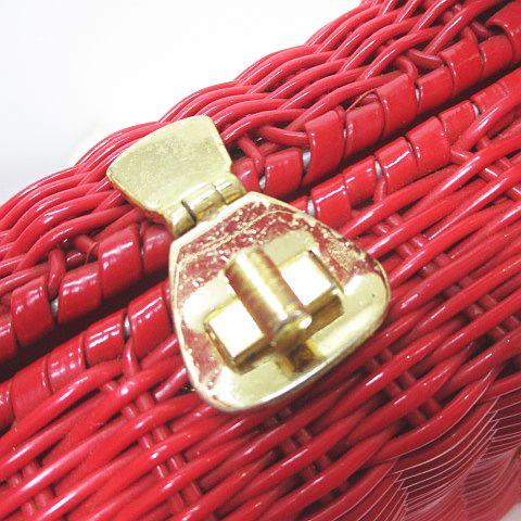 ミツコシ MITSUKOSHI かごバッグ ハンド ゴールド金具 レッド 赤 香港製 レディース