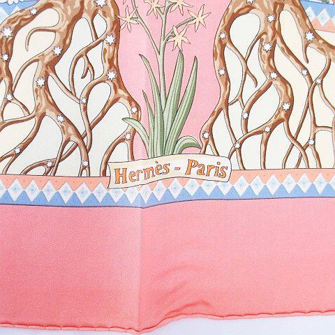 エルメス HERMES シルク 絹 スカーフ 90 カレ AXIS MUNDI  世界の中心軸 サーモンピンク系 フランス製 レディース