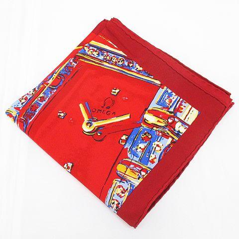 オメガ OMEGA シルク 絹 スカーフ カレ 時計柄 大判 レッド 赤系 フランス製 レディース