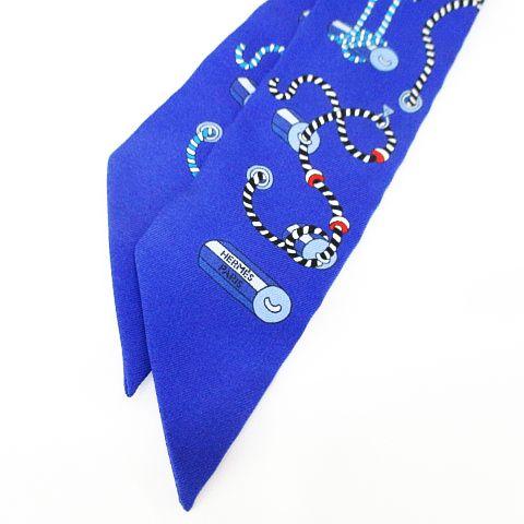 エルメス HERMES シルク 絹 ツイリースカーフ リボン ブルー 青系 総柄 フランス製 レディース