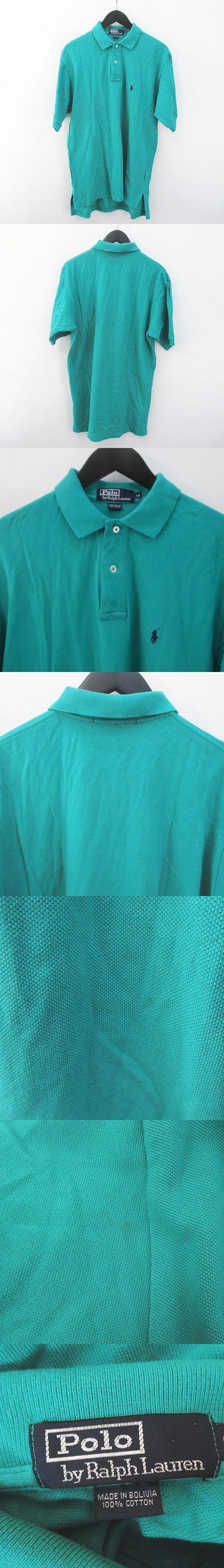 半袖 ポロシャツ M 緑 グリーン系 ワンポイント ロゴ 刺繍 ステッチ 綿 コットン