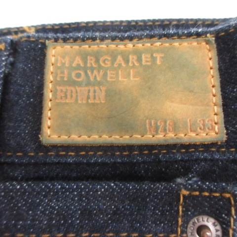 マーガレットハウエル MARGARET HOWELL エドウィン EDWIN デニムパンツ ジーンズ ワイド ボタンフライ 28 33 紺 ネイビー /AD40 レディース