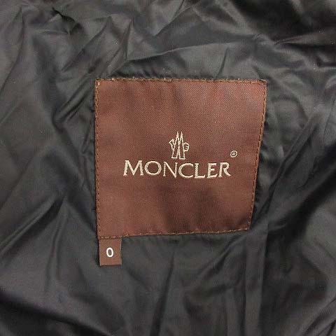 モンクレール MONCLER ダウンコート ロング 茶タグ フォクスファー フード ナイロン 0 XS 黒 ブラック /MF11 レディース