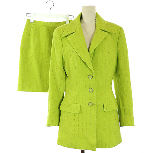カールラガーフェルド KARL LAGERFELD セットアップ 上下 スーツ ジャケット テーラード スカート ミニ 黄緑 グリーン /SR17 レディース