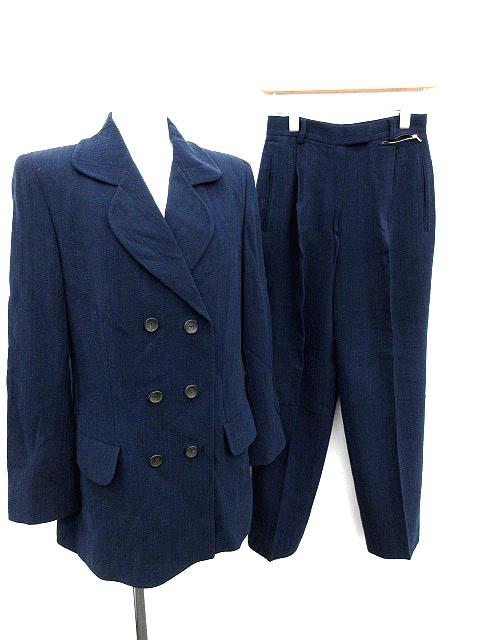 7e93227a5bbc グッチ GUCCI スーツ セットアップ 上下 ジャケット パンツ ダブル 40 紺 /KH レディース