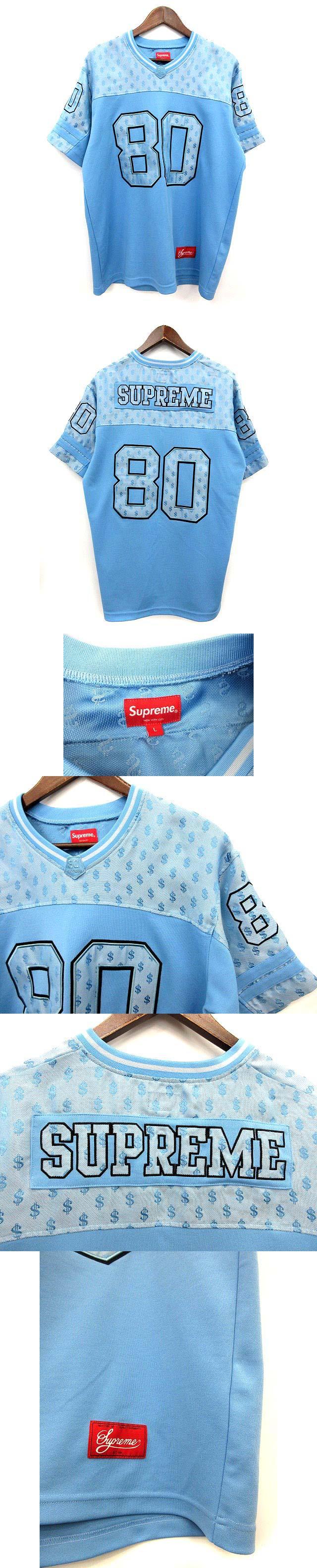 フットボール ジャージー Tシャツ monogram football jersey 半袖  L 水色 18SS  /☆G