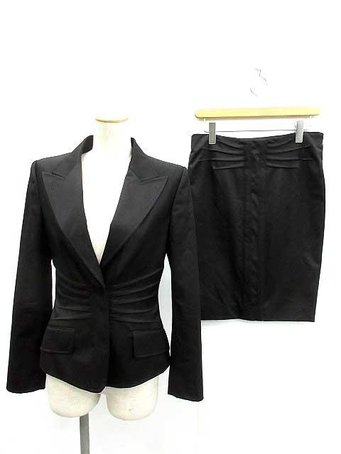 c1c4082e45ac グッチ GUCCI セットアップ 上下 スーツ ジャケット スカート 40 黒 /YH レディース