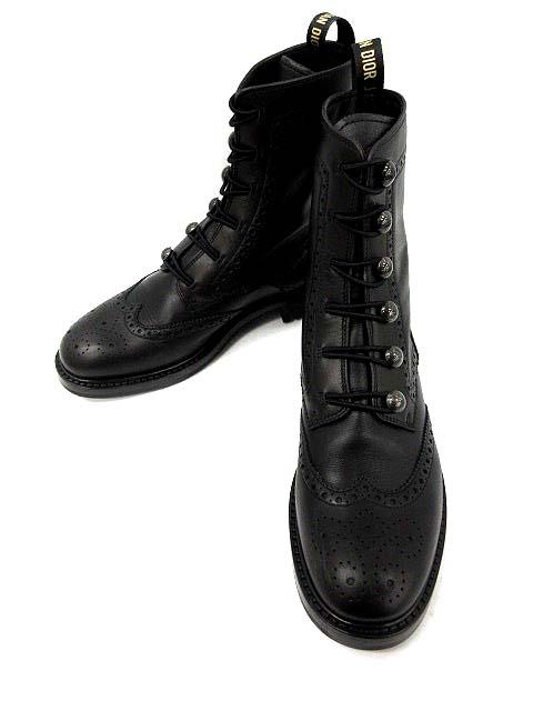 buy online d4b61 41ec8 クリスチャンディオール Christian Dior ショートブーツ DIORUNIT ウイングチップ レザー 36 黒 18AW /KH レディース
