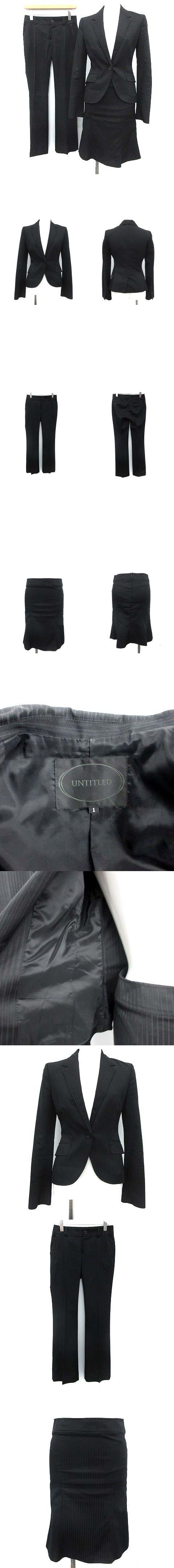 スーツ セットアップ 3点セット ジャケット パンツ スカート 1 黒 ブラック /KH