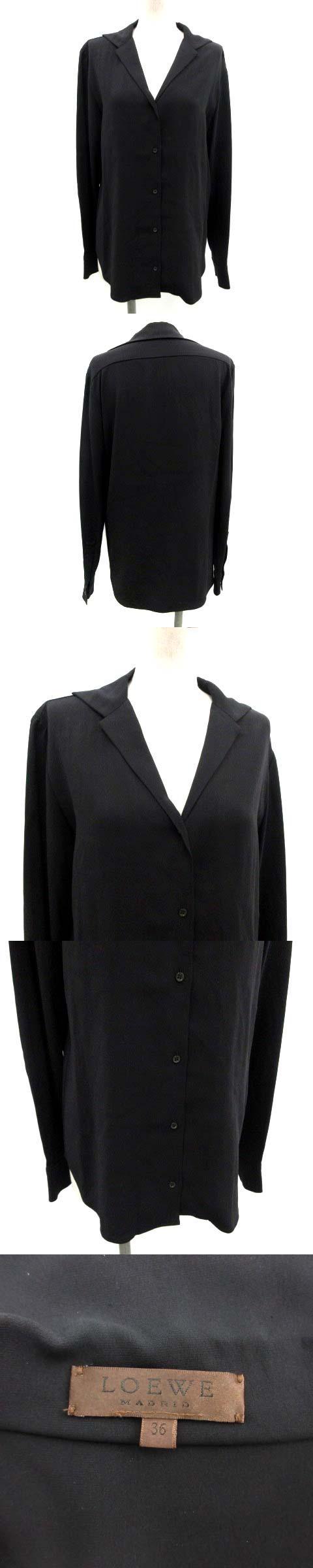 シャツ シルク 長袖 36 黒 ブラック /TK