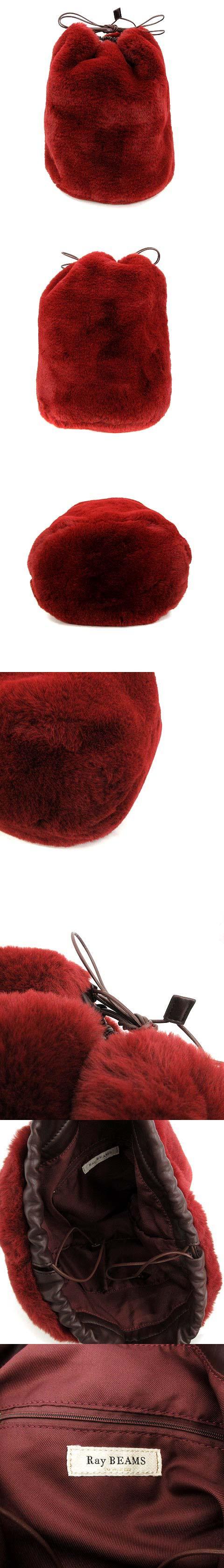 ショルダーバッグ 巾着 エコファー 赤 レッド /KH ■BR