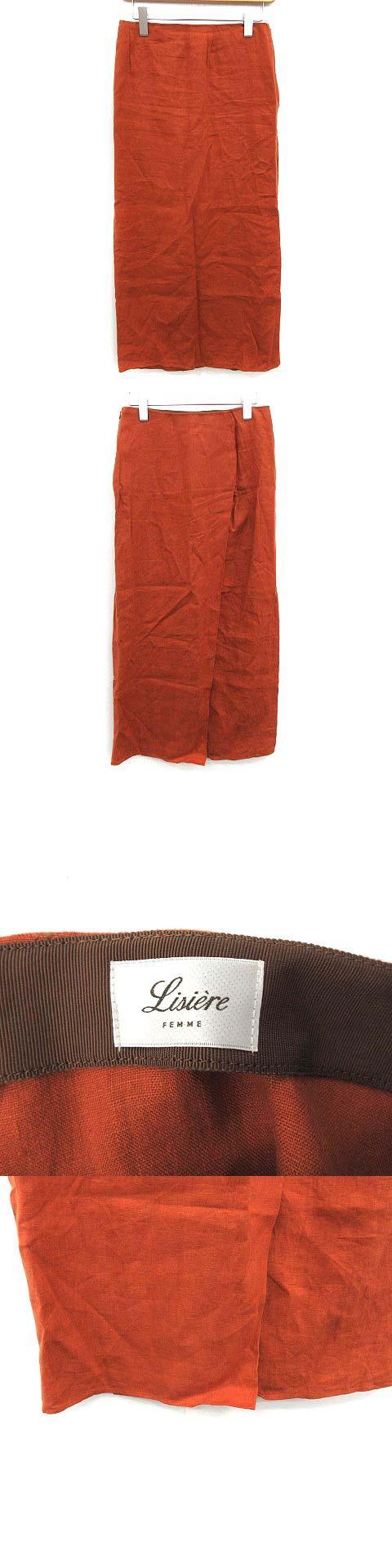FEMME 18AW スカート ロング BACK SLIT LINEN LONG リネン 34 オレンジ /KH