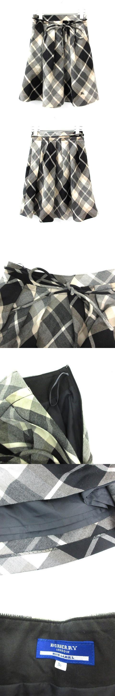 フレアスカート ミニ チェック ウール リボン 36 黒 ブラック 白 ホワイト グレー /MR