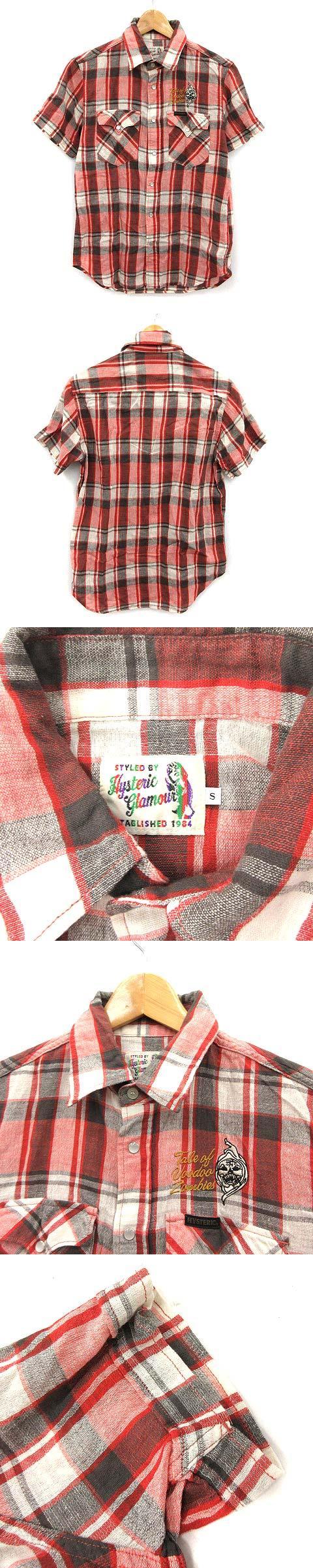 17SS シャツ 半袖 チェック 刺繍 ロゴ ゾンビ S 赤 黒 レッド ブラック /KH