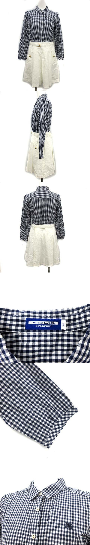 シャツワンピース 長袖 ひざ丈 チェック 切替 38 紺 白 ネイビー ホワイト /KH