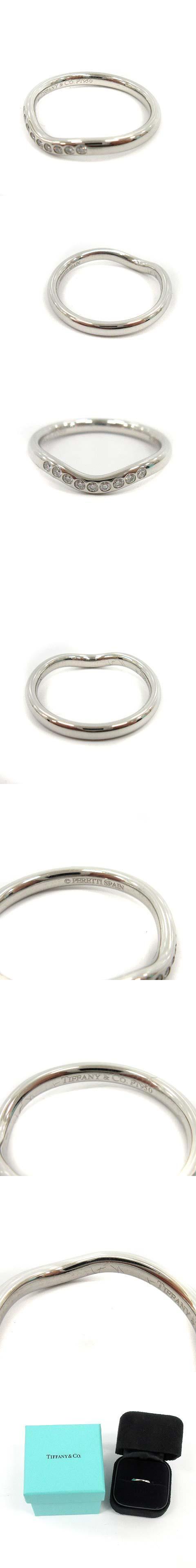 カーブドバンドリング 指輪 9P ダイヤモンド PT950 9号 プラチナ /KH