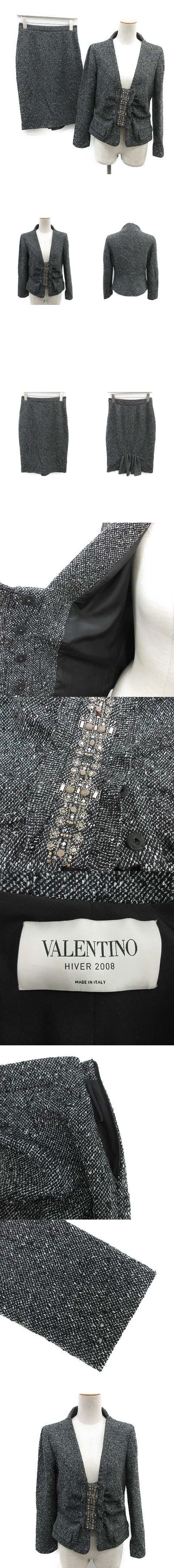 セットアップ 上下 スカートスーツ ジャケット スカート 総柄 6 8 黒 白 /OG6