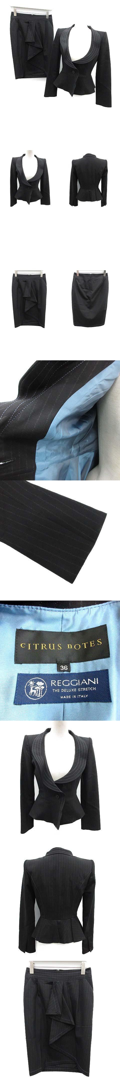 スカートスーツ セットアップ 上下 ジャケット スカート ストライプ 36 黒 ブラック /OG26 ▲H