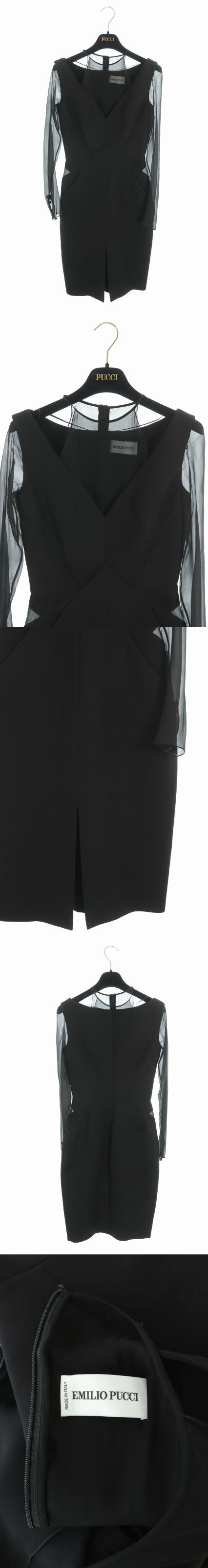 ワンピース ひざ丈 切替 長袖 シルク混 ハンガー付き I38 黒 ブラック /RM ■OS ▲H