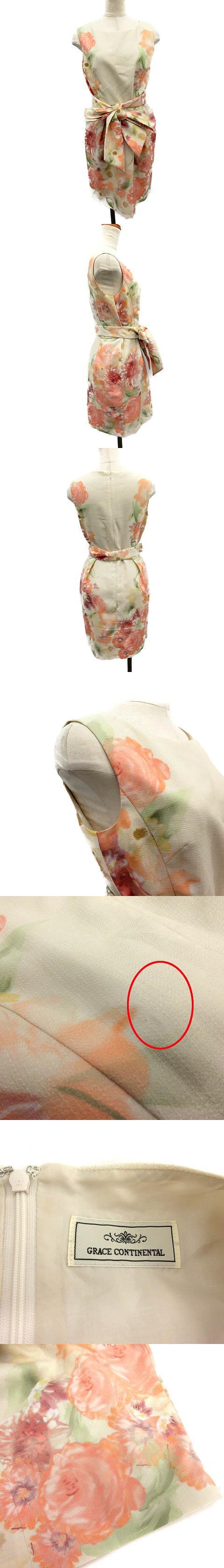 ワンピース ひざ丈 ノースリーブ 花柄 36 ベージュ ピンク /NT2 ▲H