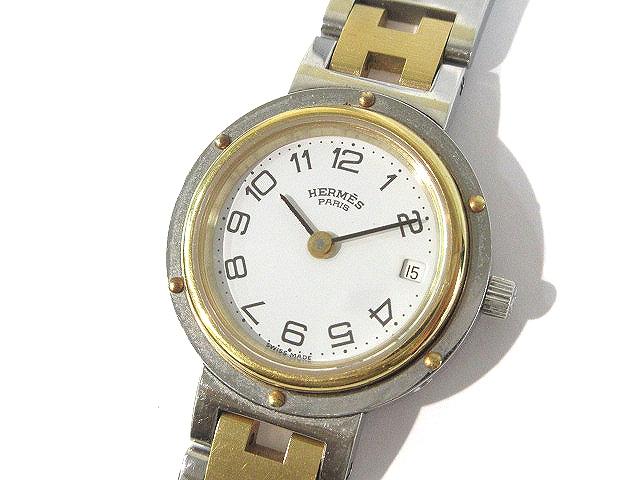 super popular 10a04 01c04 エルメス HERMES 腕時計 クリッパー コンビ 白文字盤 2針 ゴールド シルバー レディース