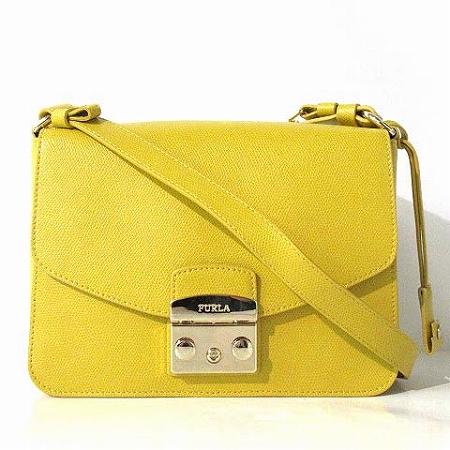 0f682e61ab05 フルラ FURLA 美品 ショルダー バッグ メトロポリス レザー イエロー 鞄 レディース