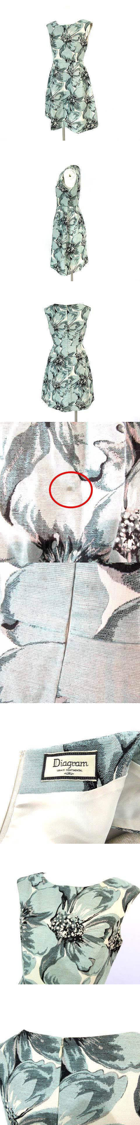 ワンピース ノースリーブ 膝丈 バックジップ 花柄 ブルー系 34