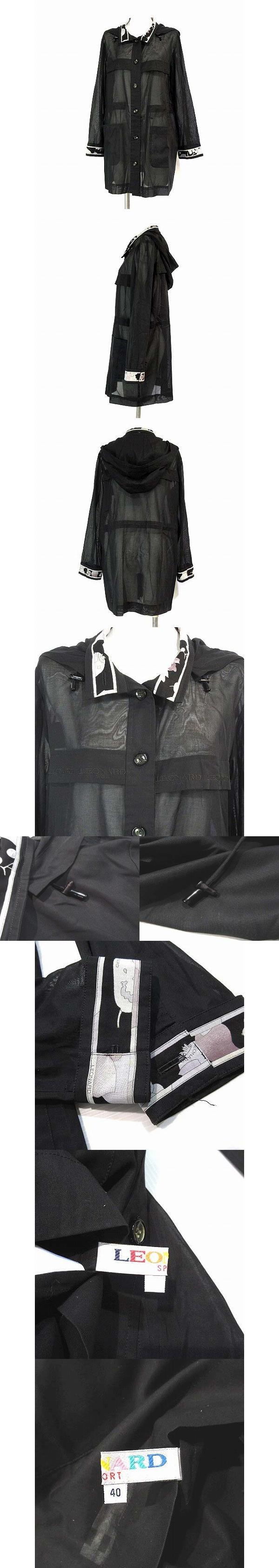 シャツ ジャケット フーデッド コットン 透け感 長袖 黒 40 ※H