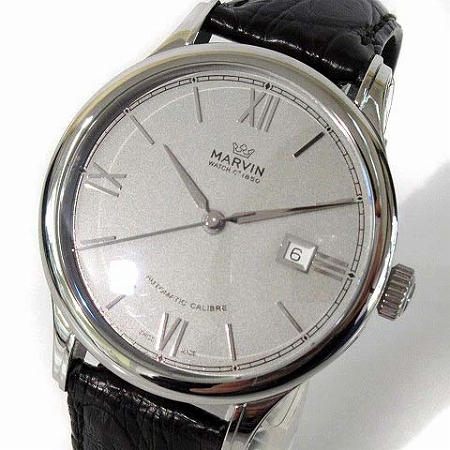 5828e05cf5 マーヴィン MARVIN 極美品 腕時計 自動巻き オートマティック M117-13 レザー 型押し 箱