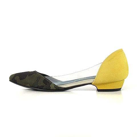 ダイアナ DIANA パンプス セパレート フラット ぺたんこ ポインテッドトゥ 迷彩柄 カモフラ柄 スエード 緑 黄 22cm 靴 レディース
