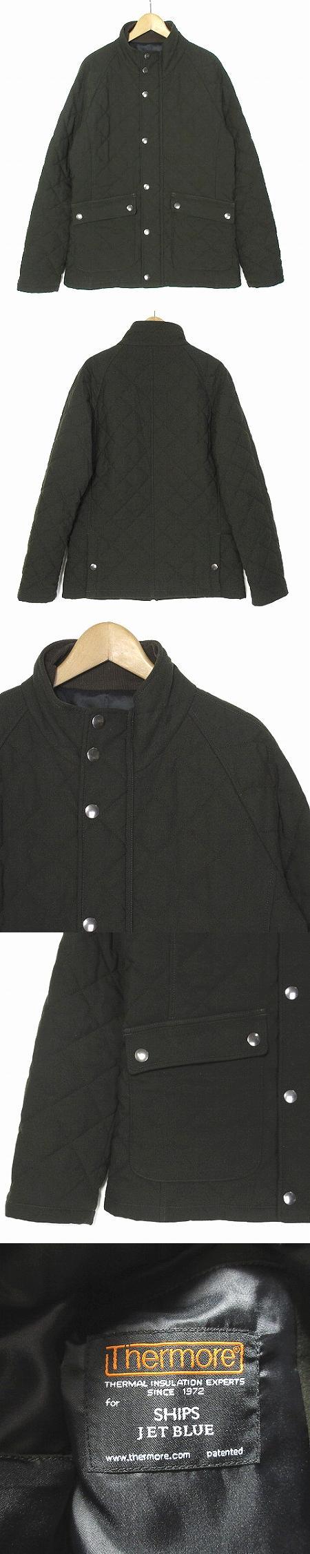 ジャケット キルティング サーモア Thermore 中綿 ブルゾン スタンドカラー カーキ M アウター