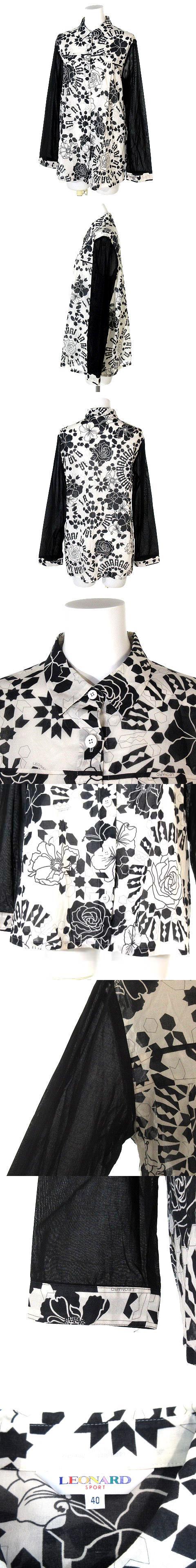 シャツ 長袖 花柄 コットン 黒 白 40 トップス IBS46